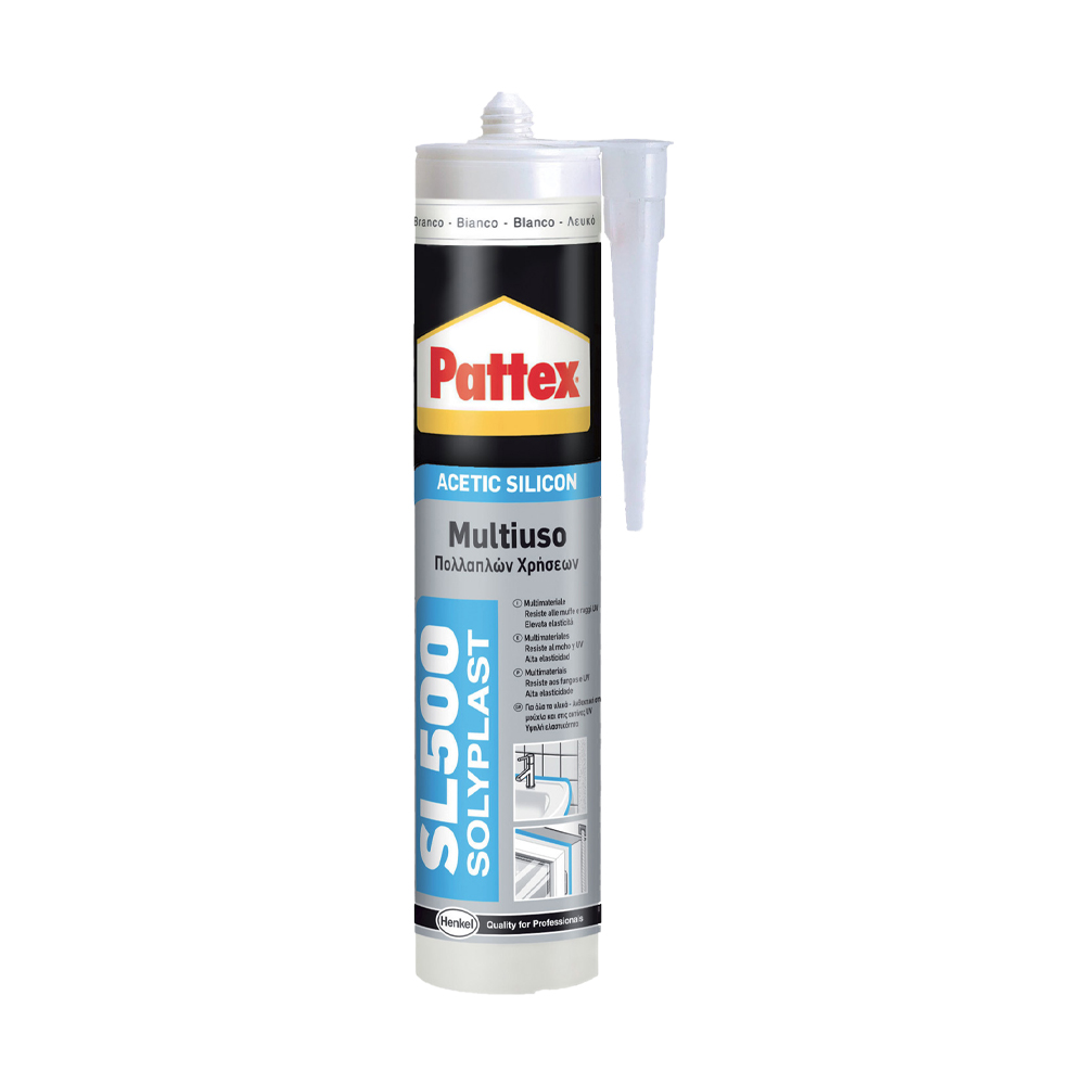 Sigillante acetico antimuffa sl500 multiuso marrone pattex 300 ml.