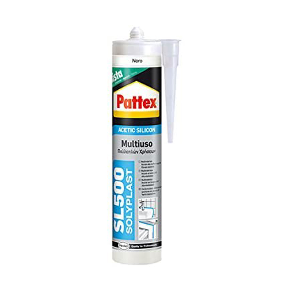 Sigillante acetico antimuffa sl500 multiuso nero pattex 300 ml.