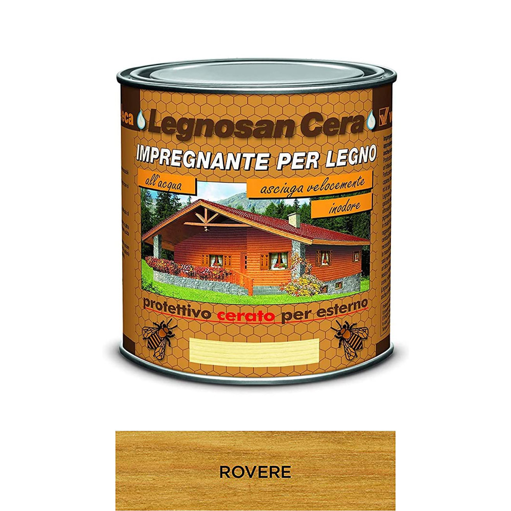 Impregnante all'acqua legnosan cera rovere veleca 750 ml.