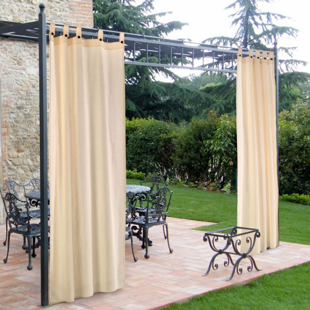 Tende a bretelle in cotone per gazebi - colore ecru - ferliving 160x270h cm.